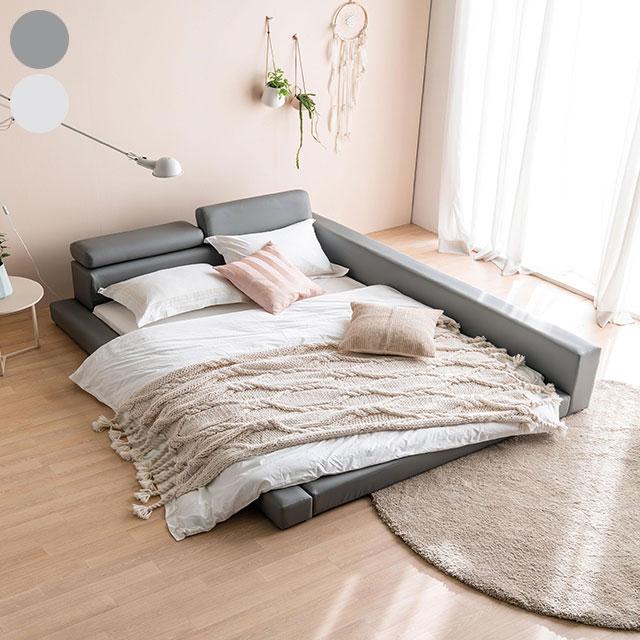 리프 가죽 저상형 퀸 침대 TE204-4