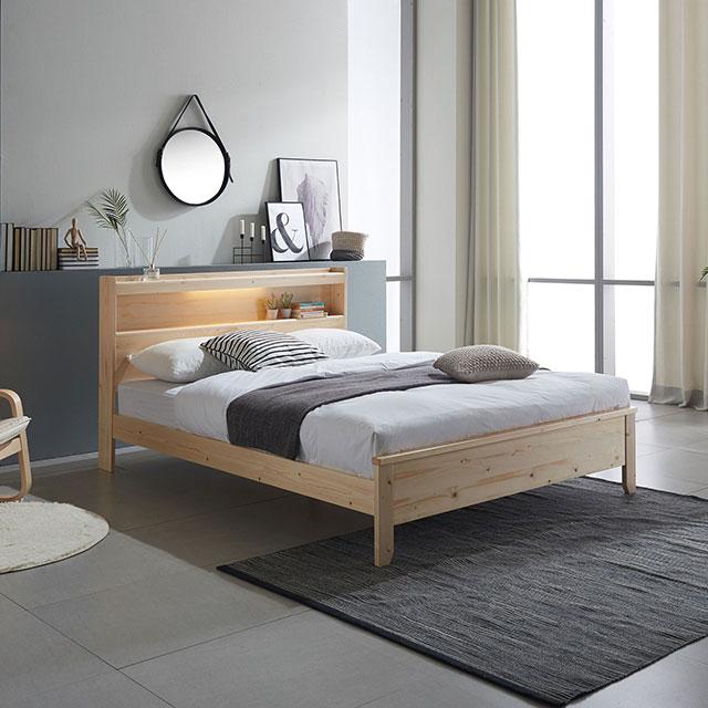 엘스 소나무 조명 퀸 침대 TE247-1